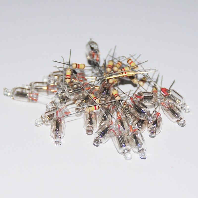 20 pces lâmpadas indicadoras de néon 6*16mm luz de néon fulgor indicador de alimentação padrão vermelho diminuto bulbo de néon indicação com resistor 220 v