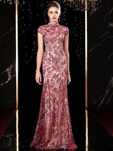 Image 3 - J20113 jancember エレガントなイブニングドレスロング 2020 イリュージョンハイネック半袖アップリケピンクパーティードレス платье длинное