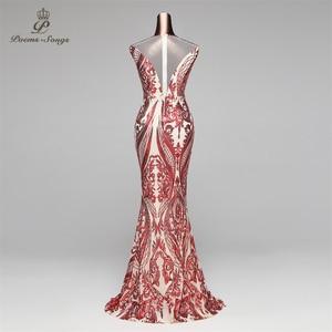Image 3 - Poems Songs Mermaid Evening Dress prom gowns Formal Party dress vestido de festa Vintage Red Slit Luxury Sequin robe longue