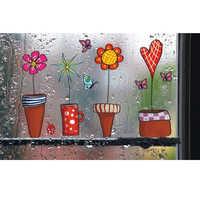 Cute Cartoon Flower Butterfly Wall Stickers DIY Decal Window glass Wall Decor Home Decoration kids Home Decor Decal