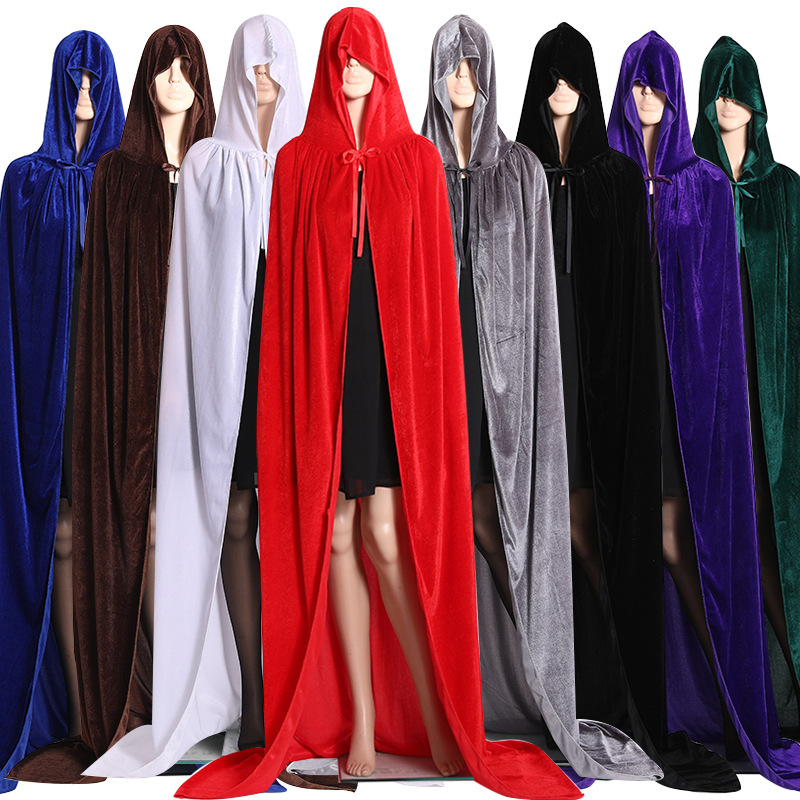Halloween Cosplay Witch Devil Velvet Cloak Cape Hooded Robe Medieval Witchcraft