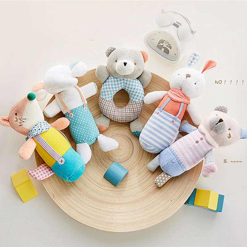 Baby Rattle Crib Mobile Cute Animal Plush Rattles Stroller Hanging Bed Bell Educational Toys For Newborn Children Gift Bb Sound