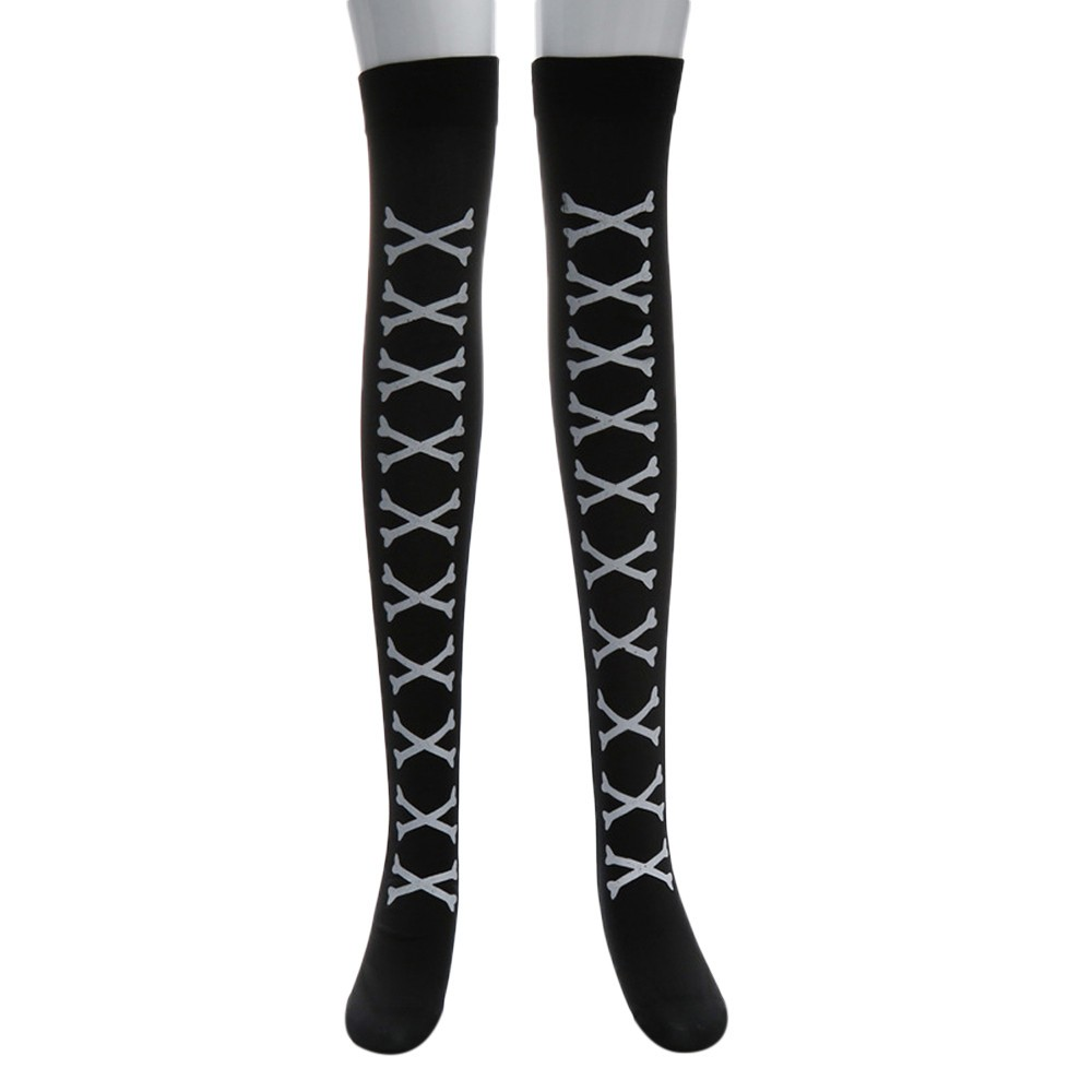 Black Stockings Hold ups fancy dress halloween costume Ladies Over Knee Socks
