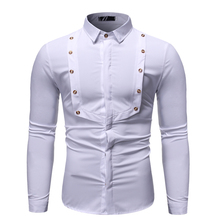 New Fashion Simple Design, Solid Color Stitching Lapel Men's Long-sleeved Slim Camisa Masculina Shirt