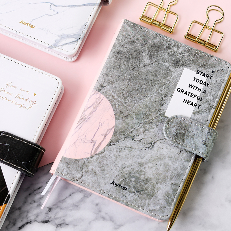 Cool PU Leather Fashion The Marble Diary A6 Notebook 196P Lined+Blank+Grid Paper Creative DIY 2020 Planner Gift