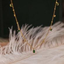 Silvology 925 סטרלינג כסף 4A ירוק זירקון קולר שרשרת לנשים שיק אלגנטי מורי סגנון יוקרה שרשרת פסטיבל תכשיטים
