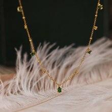 Silvology 925 ayar gümüş 4A yeşil zirkon gerdanlık kolye kadınlar için şık zarif Mori tarzı lüks kolye festivali takı