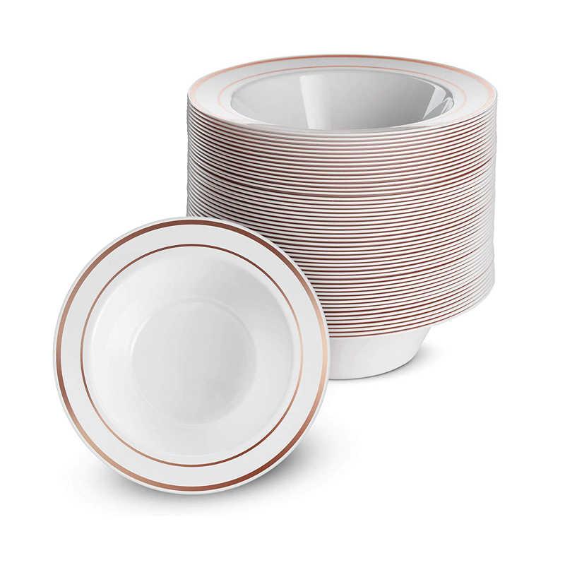 25 unids/set de 12 onzas de platos de plástico de color rosa dorado y plateado, plato desechable transparente para aperitivos, juego de cubiertos, viaje, cumpleaños, boda, fiesta