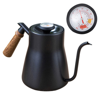 850 мл нержавеющая сталь гусиная шея Кофе чайник с термометром крышка заливка капельного носика чайник деревянная ручка черный Дом Кафе