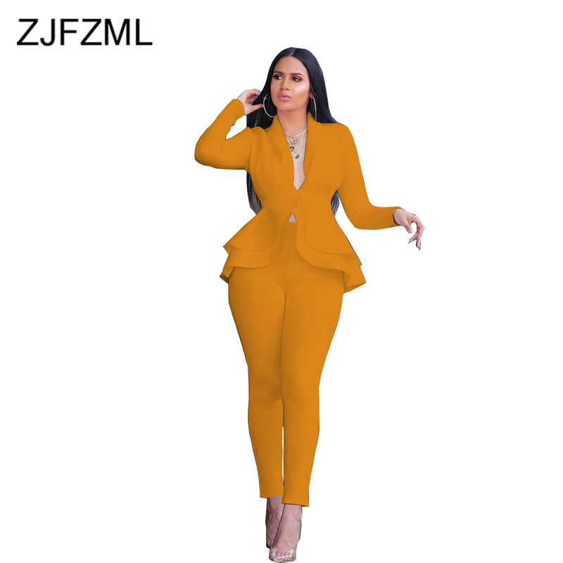 Office Lady Air Layer 2 Piece Sets Women Tracksuit Lotus Leaf Long Sleeve Blazer And Fitness Pant Fashion Uniform Club Outfits