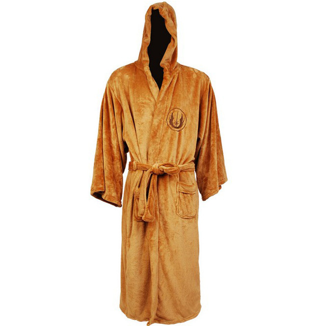 Flannel Robe Male with Hooded Thick Star Wars Dressing Gown Empire Men's Bathrobe Winter Long Robe Mens Bath Robes Pajamas