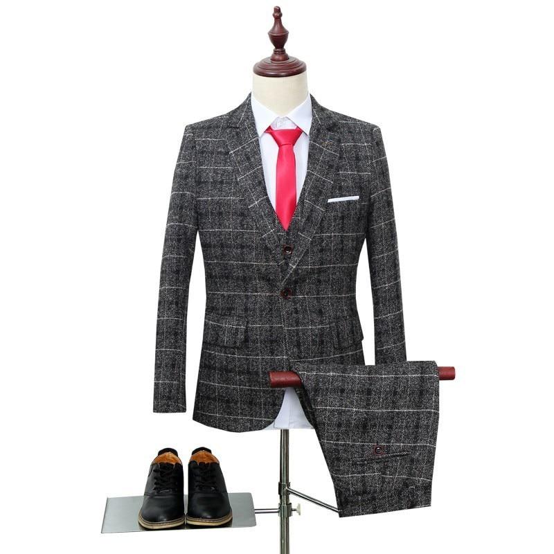 2020 Italian Latest Coat Pant Designs Tweed Plaid 3 Piece Men Suit Slim Fit Fashion Wedding Dress Mens Clothing Terno Masculino