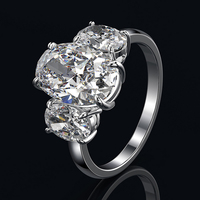 Exquisite Created Oval AAAAA+ Zircon Rings for Women Real 925 Sterling Silver Wedding Engagement Jewelry Ring Wholesale Gifts