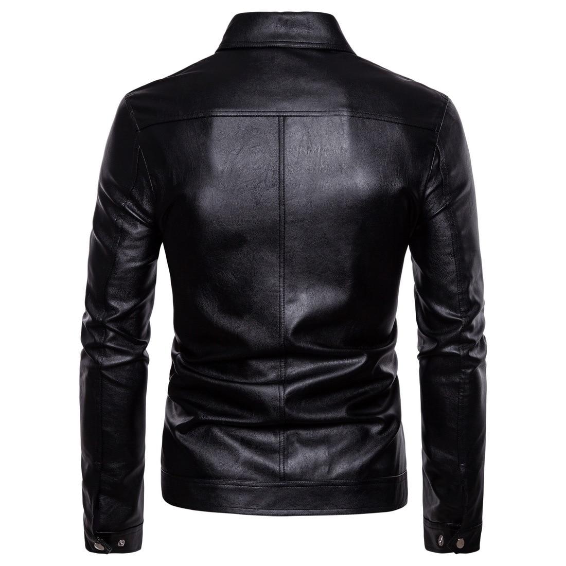 2019 Autumn New Style Europe And America England Washing Locomotive Leather Coat Fold-down Collar PU Leather Jacket Sportsman Co