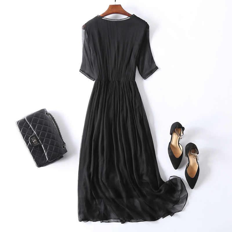 100% echte Seide Sommer Kleid 2020 Vintage Elegante Maxi Party Kleid Frauen Kleidung Damen Kleider Party Weiß Kleid Vestidos 18003