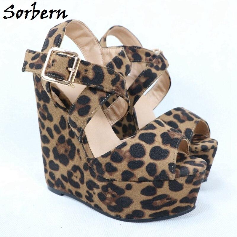Sorbern Leopard Sandal For Women Wedge High Heels Ankle Straps Platform Open Toe Comfortable Summer Shoes New 2017 Buckle Strap - 2