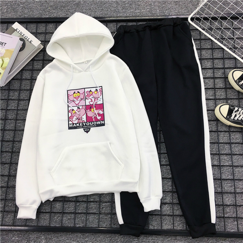 Soft Cartoon Pink Panther Printed 2 Piece Sets Woman Hoodies Kawaii Sweatshirt +Pants Suits Tracksuits Women Two Piece Outfits