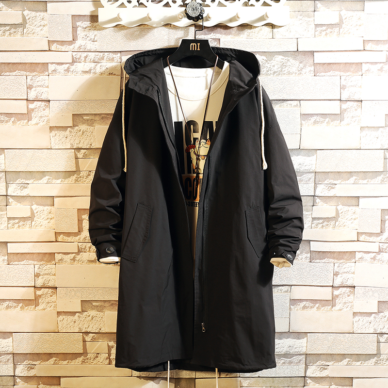 2020 Casual Mens Windbreaker Jackets Long Trench Coat For Men Spring Autumn Winter Clothes