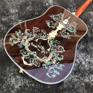 Acoustic-Guitar Abalone-Inlay Custom Solid-Wood Factory All Handcraft Deluxe
