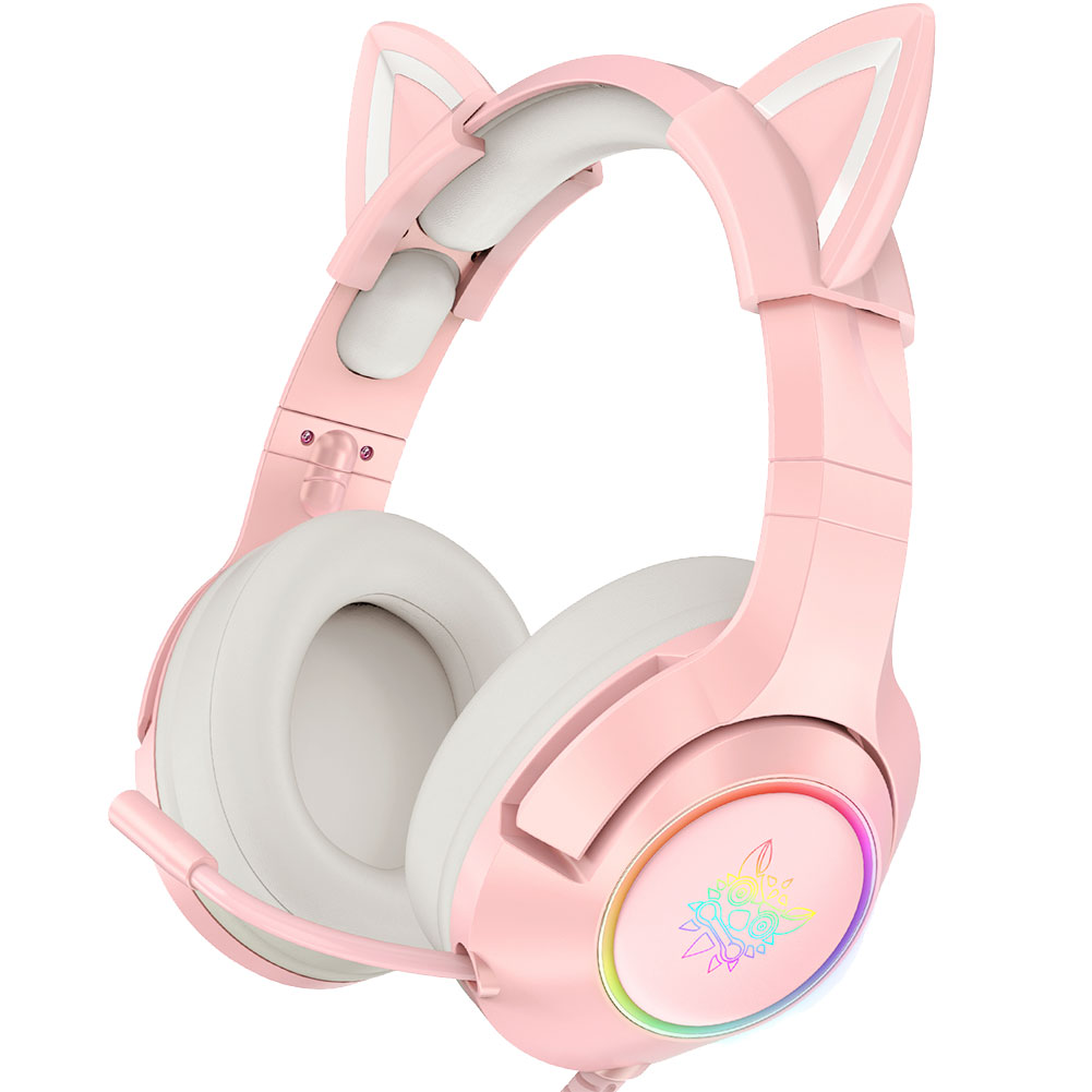 ONIKUMA K9 Gaming Headset casque Cute Girl Pink Cat Ear Stereo Headphones with Mic & LED Light for Laptop Computer Gamer