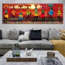 African Women Dancing Oil Paintings Pictures Posters and Prints African Etnicos Tribal Art for Home Living Room Decor