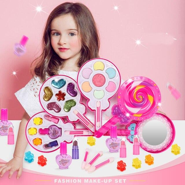 الاطفال يشكلون مجموعات الالعاب التظاهر اللعب الأميرة الوردي ماكياج الجمال السلامة غير سامة عدة لعب للفتيات خلع الملابس هدايا فتاة التجميل