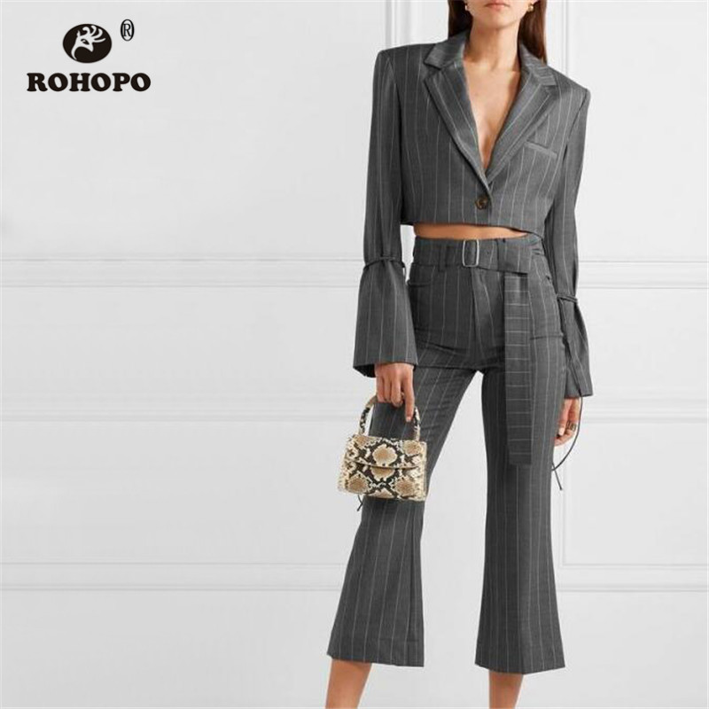 ROHOPO Lace Up Cuff Vertical Striped Grey Crop Blazer Single Buttons Office Ladies Short Outwear #9238