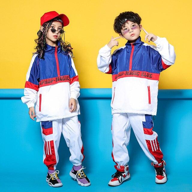 Детская синяя и белая куртка, штаны для бега, одежда в стиле хип хоп, костюм для джазовых танцев для девочек и мальчиков, уличная одежда для бальных танцев