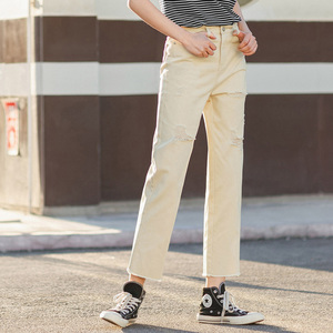 Image 4 - INMAN 2020 Summer New Arrival Pure Cotton High Waist Rough Selvedge Worn out Hole Loose Ankle Length Pant