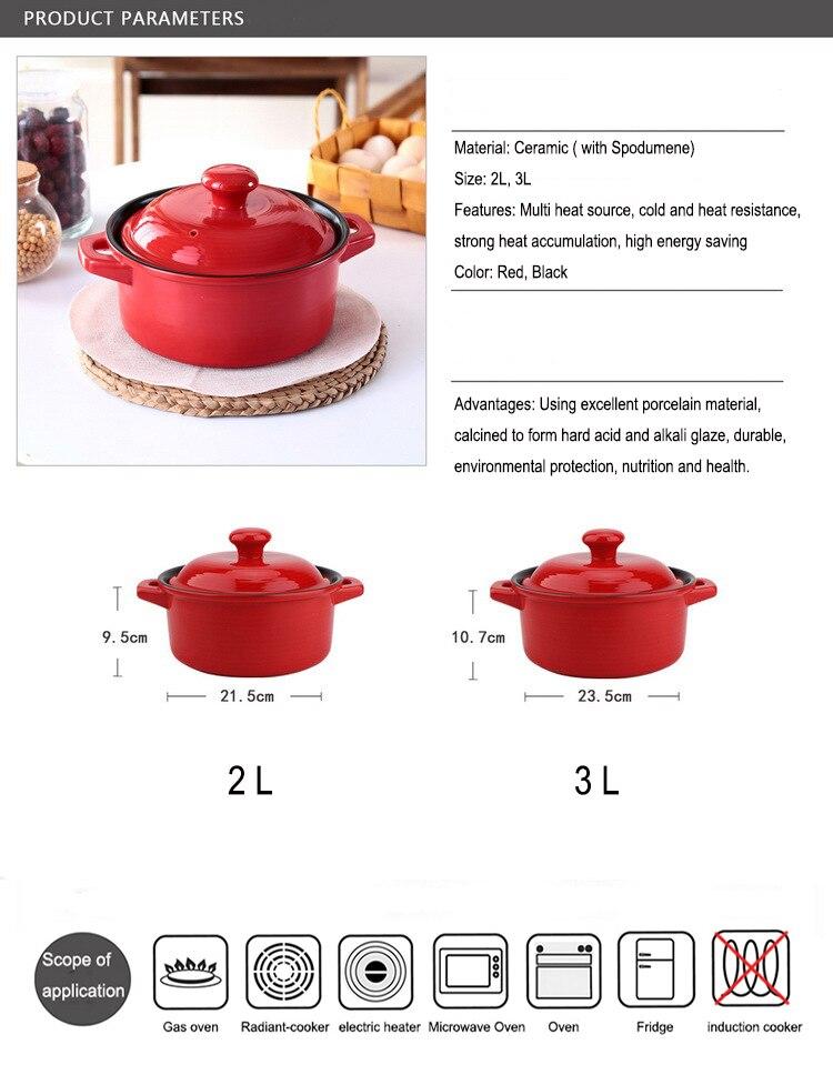 Alta temperatura resistente cerâmica caçarola cor vermelha