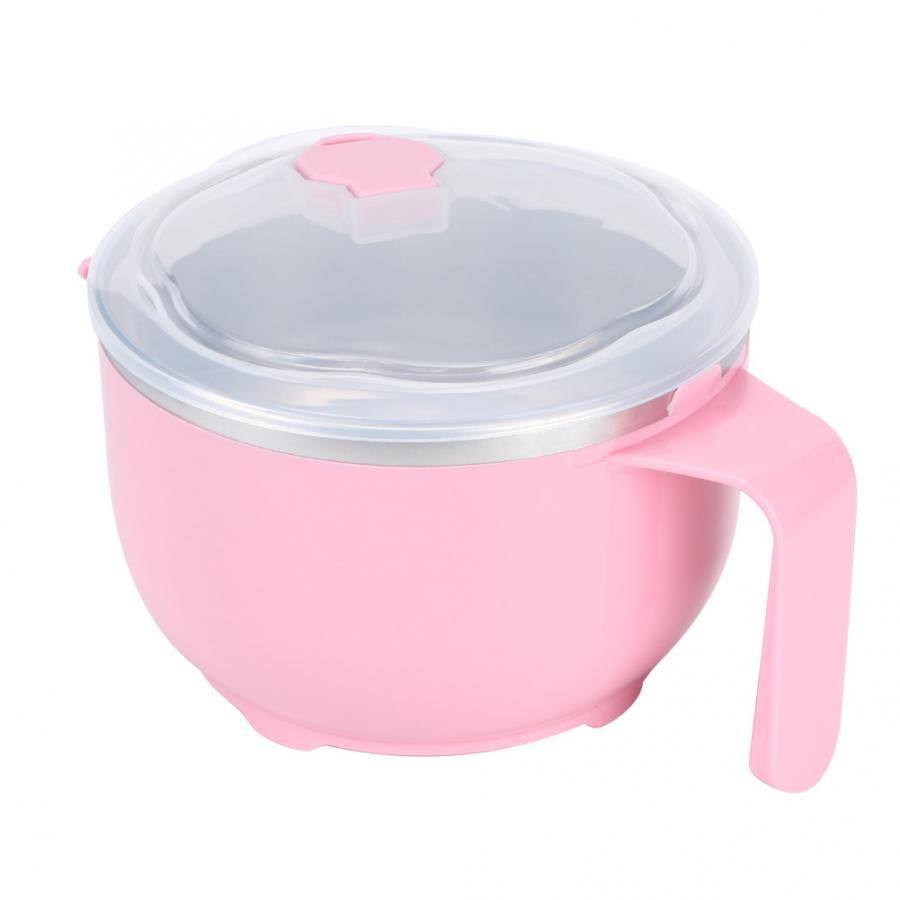 Bowl 900ml Pink Stainless Steel Noodles Soup Bowl Food Fruit Container with Cover  Leaves Shape  Dish Bowl