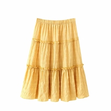 Skirts Plus-Size Pleated A-Line Loose Midi Ruffles Vintage XL Casual Women Summer Cute