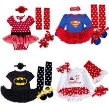 Детские костюмы-комбинезоны на день рождения, платье, костюм Супермена, Бэтмена, маскарадный наряд, Bebes, комбинезон, Одежда для новорожденных девочек