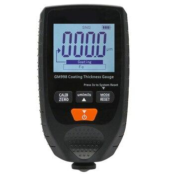 TOP!-GM998 Car Paint Coating Thickness Gauge Car Paint Electroplate Metal Coating Thickness Tester Meter 0-1500Um Fe & NFe Probe