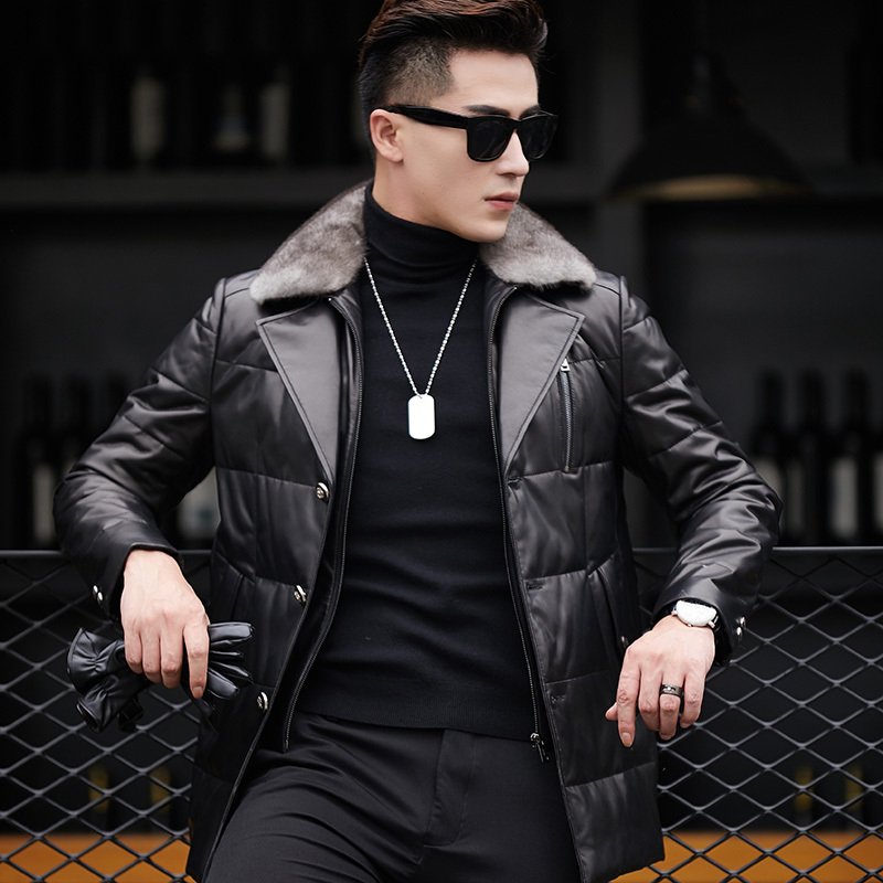 2020 Genuine Leather Jacket Men Autumn Winter Sheepskin Coat Men's Leather Down Jacket Mink Fur Collar 13N1351 KJ2116