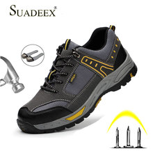 SUADEEX Work Shoes Men Breathable Safety Shoes Anti-smashing Steel Toe Cap Sneakers Male Construction Puncture Proof Work Boots baby nice борт в кроватку звездопад baby nice желтый