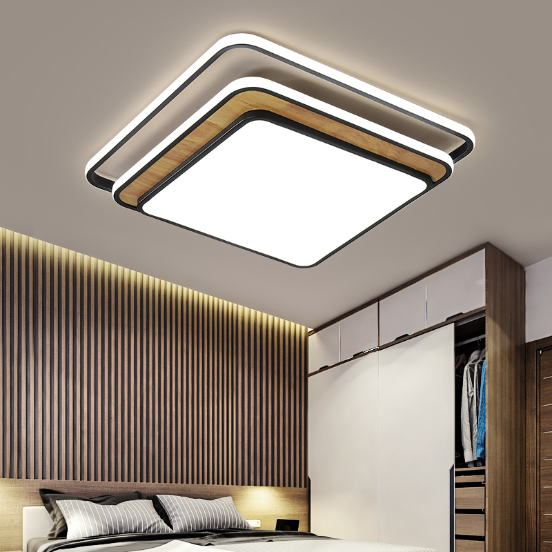 New Square modern led ceiling chandelier for living room bedroom study kitchen home lighting black white chandelier fixture
