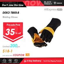 DEKO gants de soudage en cuir 15 pouces, pour les soudeurs Tig, Mig, cheminée, poêle, barbecue, jardinage, travail du bois, bricolage