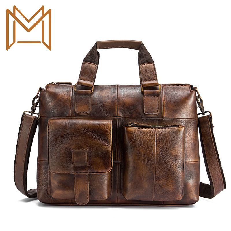 Head Layer Crazy Horse Leather Genuine Leather Man 14 Inch Business Affairs Portable Document Computer Package
