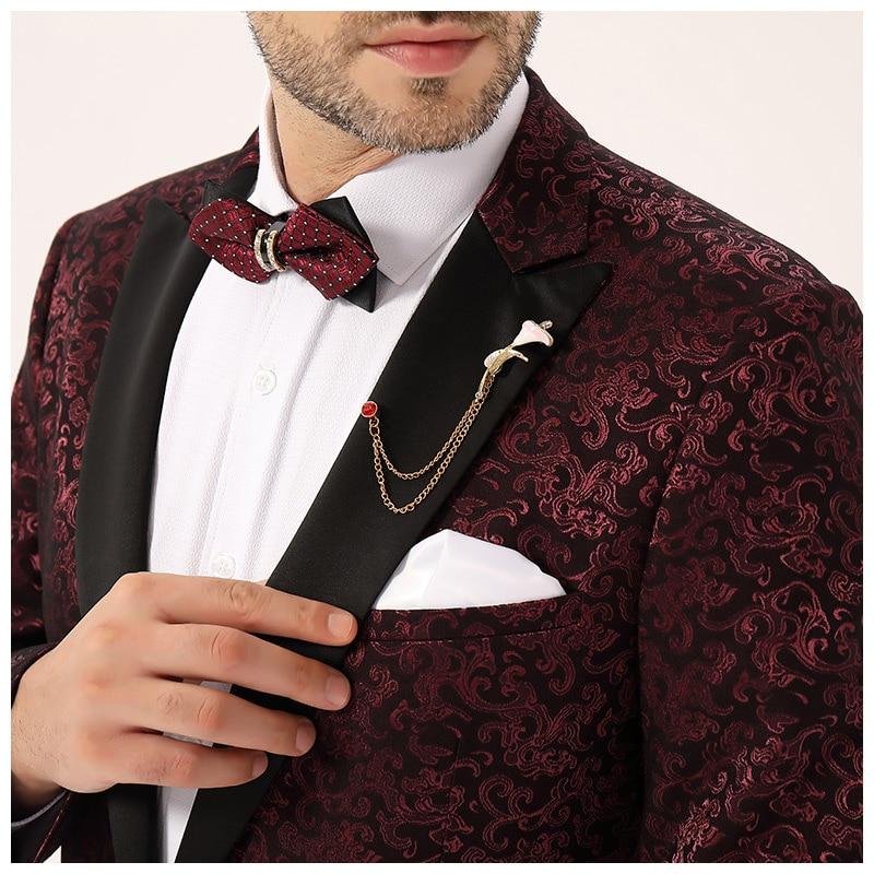 2020 Men Suits Blazer Jacket Burgundy Floral Mens Evening Dress Suits Formal Wear