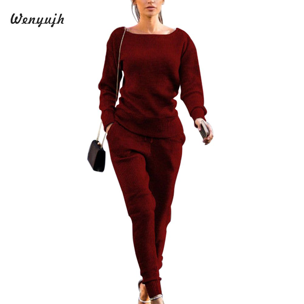 WENYUJH Women Set Knitted Suit 2019 Casual Track Suit O-neck Long Sleeve Solid Bodycon Women's Sports Suits Spring Autumn Winte