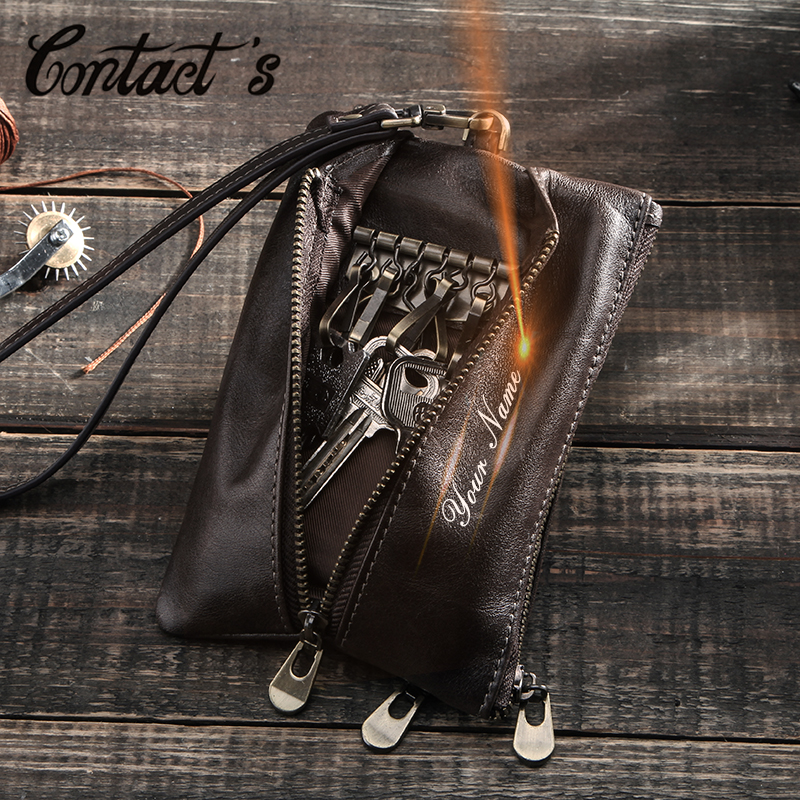 Contact's Genuine Leather Men Key Wallet Strap Coin Purse Zipper Key Holder ID Card Pocket Multi-function Car Key Chain Unisex