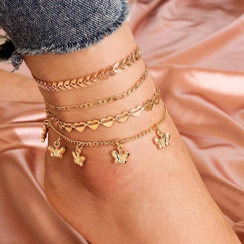 4 Pcs/Set Butterfly Leaf Arrows Heart Love Anklet Set Fashion Gold Summer Beach Women Anklets Bracelet Women Foot Jewelry Gifts