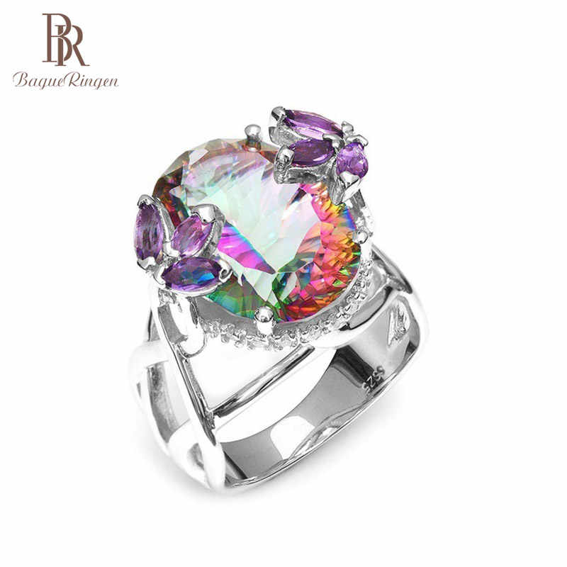 Bague Ringen Pure 925 Sterling Silver Ring Top Quality Rainbow Fire Mystic Topaz Rings Wedding Party Gift For Women Wholesale