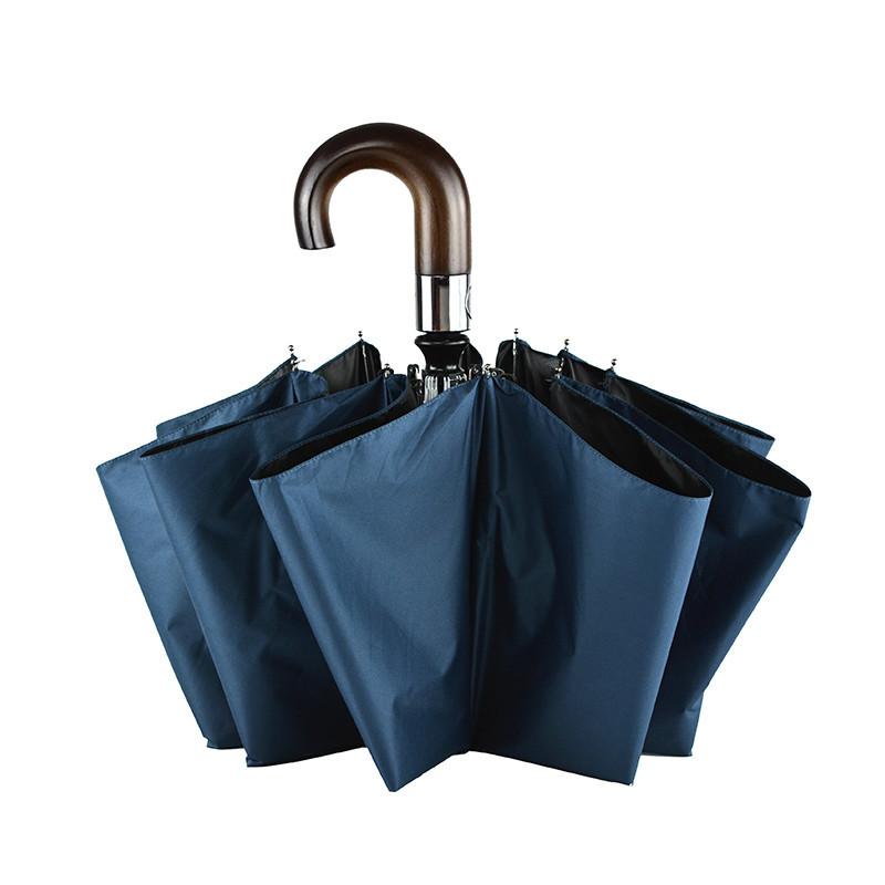 Ten Bone Fully Automatic Solid Wood Hook Handle All Fiberglass Umbrella Ribs Windproof Oversized Men Business Folding Umbrella