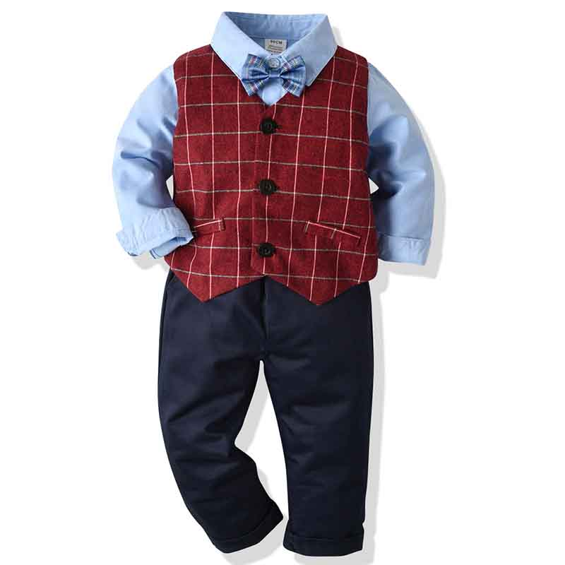 Baby Kid Boys Suits 4Pcs Formal Toddler Waistcoat  Suit Wedding Party Outfits