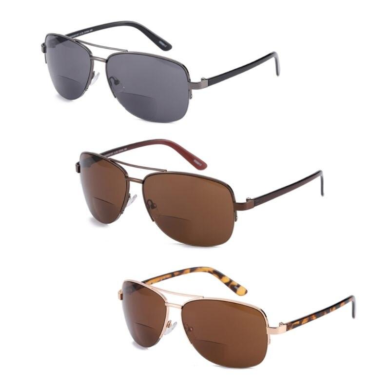 Men Women Bifocal Reading Glasses Sunglasses Sun Readers Half Frame Presbyopic