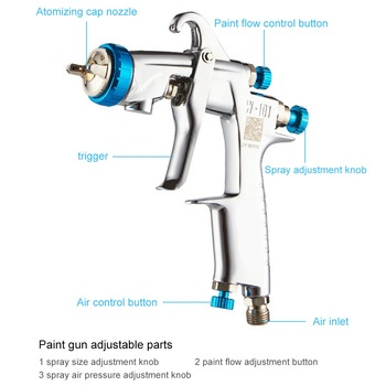 Car Paint Gun 400cc Cup Spray Gun With Stainless Steel Pot Cup 1.0/1.3/1.5/1.8mm W-101 HVLP Manual Car Painting Gun