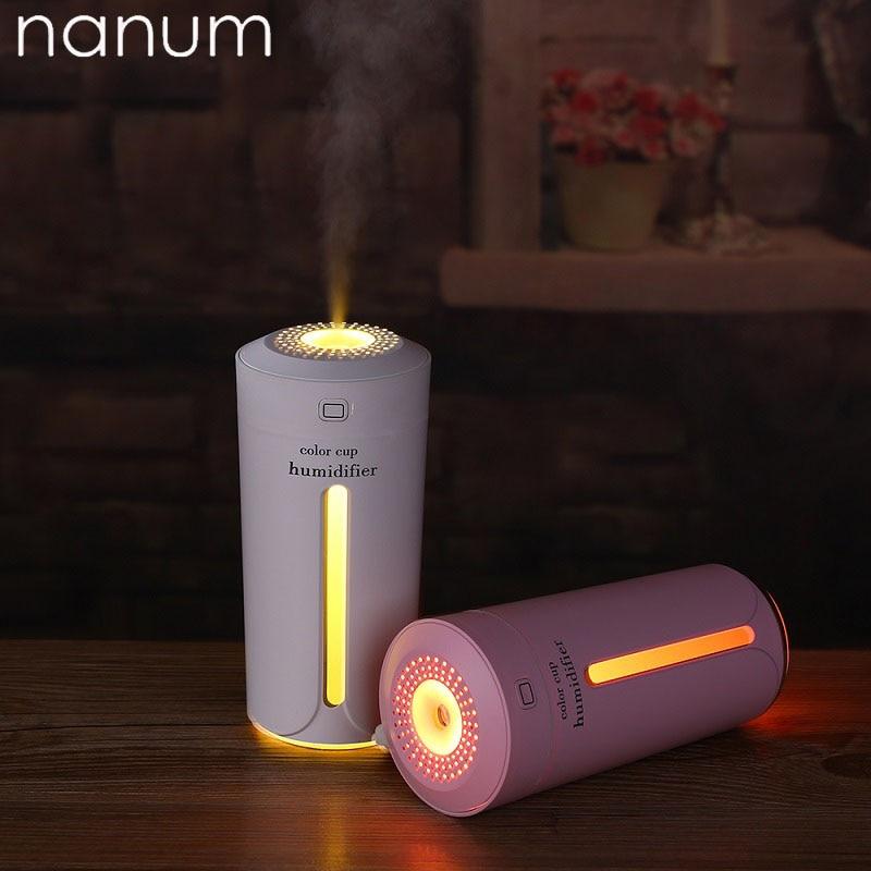Ambientador de aire de coche USB ultrasónico taza de Color para el hogar humidificador de coche purificador atomizador LED lámpara difusor de aromaterapia