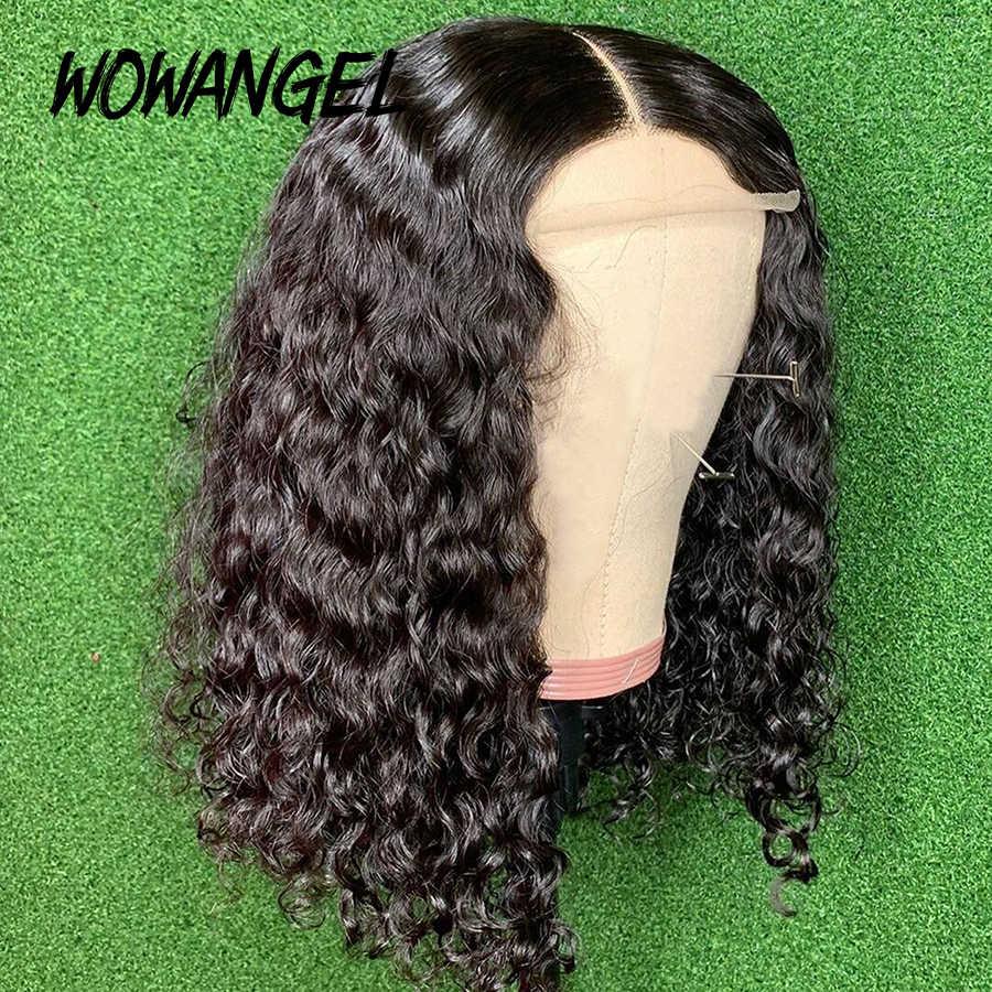 Rizado corto pelucas de cabello humano 150% Remy brasileño onda del agua 4*4 Bob corto Peluca de encaje de cierre para mujeres peluca Frontal de encaje barato